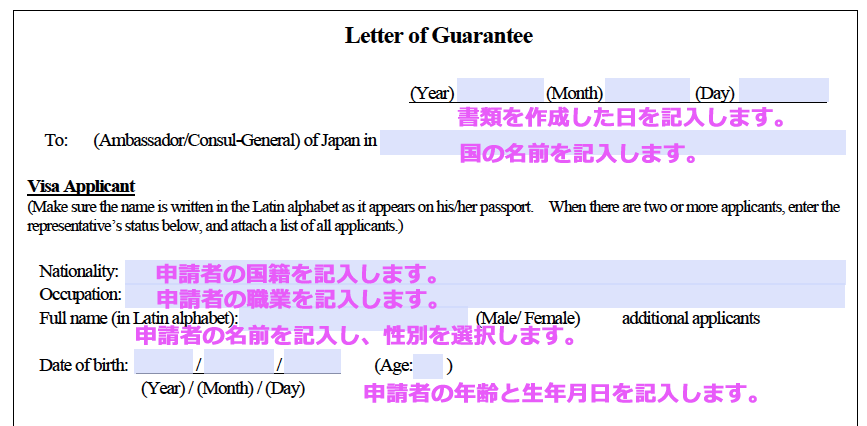 letter of guarantee の書き方